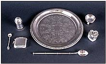 Small Collection Of Silver, Comprising Vesta Case, Salt & Spoon, Pepperette