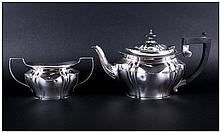 Edwardian Silver Teapot and Matching Two Handle Sugar Bowl. Hallmark Birmingham 1903. Marked J.Z. Al