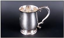 Elizabeth II Silver Tankard of Plain Form with Scroll Handle. Hallmark Sheffield 1967. Makers Mark E
