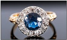 Antique 18ct Gold Set Diamond & Sapphire Cluster Ring, The central sapphire