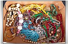 Collection Of Costume Jewellery comprising assorted beads & brooches