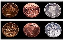 Retro Pattern Collection coins/ proof quality coins showing Queen Victoria