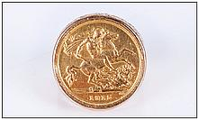 22ct Gold Half Sovereign Set In a 9ct Gold Shank. The Half Sovereign Is Geo