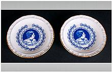 Royal Doulton Pair Of Coasters The Rt. Hon. Mrs Thatcher, First Women Prime