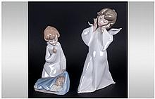 Lladro Figures ( 2 ) In Total. 1/ Mime Angel, Model Num.4959. Issued 1977,