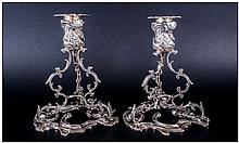 Irish Very Fine & Magnificent Pair Of Cast Silver Candlesticks By Royal Irish Silver Ltd, in George
