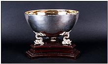 Boodle & Dunthorne Finest Quality Planished Silver Bowl supported & raised on 3 Dolphin figures/scul