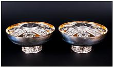 Christopher Nigel Lawrence Cased Pair Of Silver Commemorative 'Queen Elizabeth' Rose Bowls, The remo