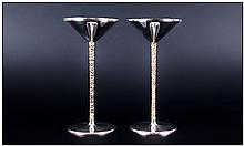 Stuart Devlin Fine Pair Of Silver & Silver Gilt Candle Stick Holders, with textured gilt stems. Hall