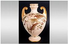 Royal Worcester Hand Painted Blush Ivory Two Handle Vase. c.1890. Shape Num
