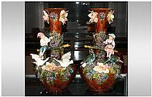 Majolica Very Fine Impressive Pair of German Late 19th Century Large Figura