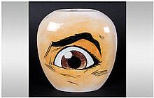 Carlton Ware Pop Art Vase, with painted eye decoration and futuristic shape design. Fully signed to