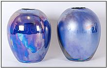 Carlton Ware ''Studio Study'' and ''Gold Lustre'' Hand Painted Globular Shaped Vase Set - Signed to