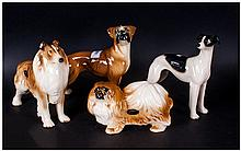 Coopercraft Dogs, 4 various models including Boxer, Greyhound, Collie & Peckinese.