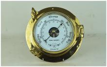 Royal Mariner Heavy Brass Ships Style Barometer with Opening Latch and Bevelled Glass. As New Condition. Diameter 9 Inches.