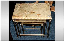 Set of Three Onyx Topped, Brass Framed Coffee Tables of Rectangular Shaped, The Brass Frame with Ree