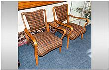 Pair of 1950's Swedish Style Upholstered Back and Seat Armchairs In Contemporary Material with Swept