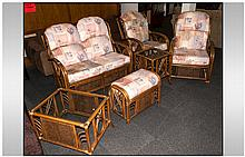Six Piece Conservatory Lounge Suite, In Bamboo and Rattan, 2 Matching Armchair Settee, 2 Glazed Top