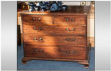 George III Period Mahogany Chest of Drawers probably Lancashire with two short drawers above three l