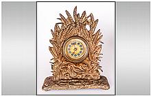 A Cast Brass & Gilded Victorian Mantle Clock depicting Grouse amongst corn