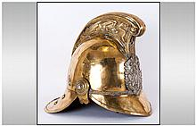 Late 19th /Early 20thC Fireman's Brass Helmet with Part chin scales and lin