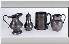 4 Items Of Pewter Including A Rare 19th Century Pear Shaped Pepperette