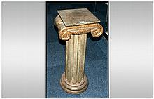 Modern Archaic/Greek Style Fluted Column With Ionic Capital, Height 30 Inches