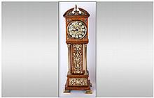 Oak Cased Miniature Longcase Clock, Early 20thC. Cream Enamelled Dial With