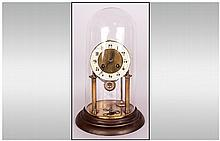 Vintage Anniversary Clock with Glass Dome. Height 12 Inches.