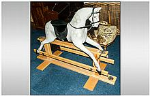 'Derby Rockers' Modern Fibre Glass Grey Rocking Horse On Wooden Frame