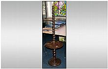 1920's Candy Twist Oak Lamp Stand with a Central Shelve on Turned Round Base. 62 Inches High.