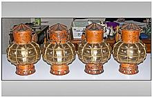 Set of Four Reproduction Copper Ships Lanterns with wall brackets. Converted for electric use.