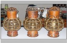 Set of Three Reproduction Copper Ships Lanterns with wall brackets. Converted for electric use.