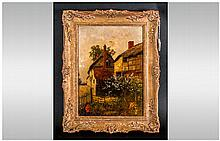 Two Period Thatched Houses with a cherry tree in blossom. Oil on board. Signed Carl Dr...(indistinct