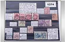STAMPS. GB. QUEEN VICTORIA surface printed from 1855 4d, 1865 4d, 1867 3d x4 different plate numbers