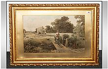Coloured Print In Gilt Gesso Frame, Glazed depicting an Idyllic country scene harvesting with figure