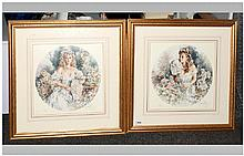 Gordon King Pencil Signed Limited Edition Fine Art Colour Pair Of Prints Numbered 337/850, Mounted
