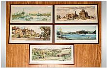 Collection Of Five Decorative Prints, Immingham Docks, Sible Hedingham, Stowmarket Station, Loch Lom