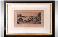 Robert Walker Macbeth 1848-1910 Signed Etching 'Ferry To The Inn' with figures signed in pencil lowe