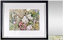 Phyllis I. Hibbert 1903 -1971 Floral Still Life Watercolour. Signed, Mounted and Framed. Behind Glas