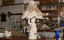 A Large Decorative Plaster Base Lamp in the form of a Putti holding a cornea copia, large floral sha
