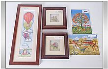 Framed Print By Anne Webster Together With 2 Villeroy & Boch Painted Plaques And Two Small Framed De