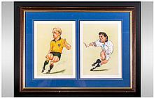 Pencil Signed Limited Edition Prints By Ireland Depicting Caricatures Of Michael Lynagh & Will Carli