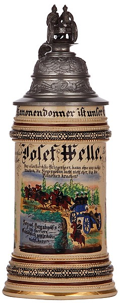 Regimental stein, .5L, 10.6'' ht., pottery, f. Battr., Feld Artl. Regt. Nr. 44, Trier, 1901 - 1902, u. 6. Battr. Lehr. Regt. Feld Artl. Schiessschule, Jüterbog, 1902 - 1903, two side scenes, epaulet thumblift, named to: Josef Welle, mint