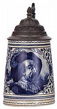 Pottery stein, .5L, transfer & enameled, marked Royal Bonn Delft, pewter lid, some browning, otherwise mint
