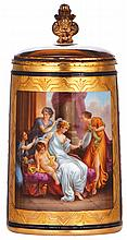 Porcelain stein, .5L, 7.1'' ht., handpainted, marked with beehive, Royal Vienna type, Schmückung der Venus, porcelain inlaid lid, mint
