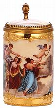 Porcelain stein, 2.9'' ht., handpainted, marked Dresden, Royal Vienna type, porcelain inlaid lid with scene inside & outside, mint