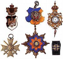 Five items, WWI Prussian Veteran Medal; War Merit Cross, 1939; medal dated 1963; Meisterschaft Rehbock Medal; Pour Le Merite pocket knife, good condition