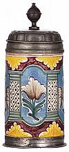 Faience stein, 9.5'' ht., late 1700s, possibly Berliner Walzenkrug, pewter lid & footring, chip under pewter rim repaired - excellent