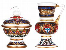 Two Mettlach items,  modern, Limited Editions, 8.4'' ht., Schwandose, mint; with, 9.2'' ht., Wappenkrug, König Ludwig II, mint